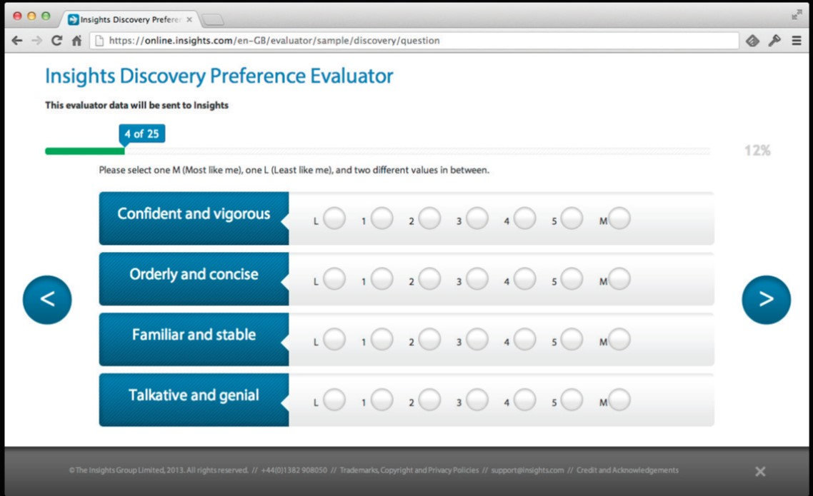 Insights Discovery online evaluator